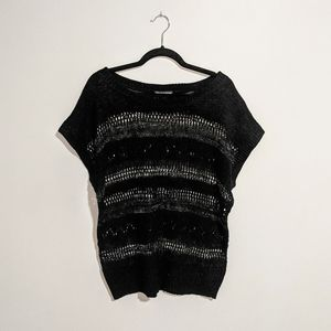 Sheer knit tee with silver thread detail